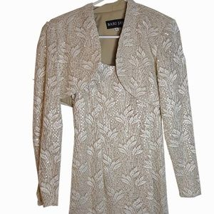 Bari Jay Formal Sequin Lace Maxi Dress Shrug